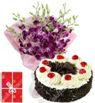 send Eggless 500gms Black Forest Cake Orchids Bouquet delivery