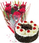 send Red Roses Bunch Eggless Black Forest Cake delivery