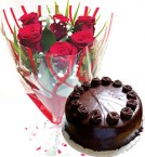 send Red Roses Bunch Eggless Chocolate Truffle Cake delivery
