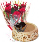 send Red Roses Bunch Eggless Butterscotch Cake delivery