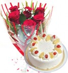 send Red Roses Bunch Eggless Pineapple Cake delivery