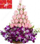 send Pink Orchid Pink Roses Designer Bouquet delivery