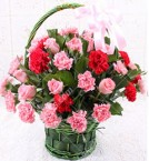 send 20 Pink Red Roses and carnation Flower Basket delivery