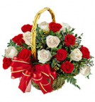 send 15 White Red Roses Basket Gifts delivery