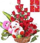 send Designer Roses Bouquet n Teddies delivery