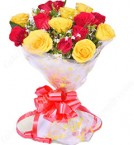 send  Yellow Red Roses Flower Bouquet delivery
