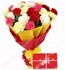 send 15 mix Carnations bunch with Greeting Card delivery