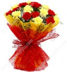 send 15 Red n Yellow Carnations Bouquet delivery
