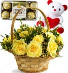 send Gifts of Yellow Roses basket n ferrero rocher chocolate n Teddy Bear delivery