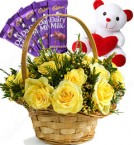 send Gifts of Red Roses Basket n Chocolate n Teddy Bear delivery