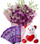 send Gifts of Orchids Bouquets n chocolate n Teddy Bear delivery