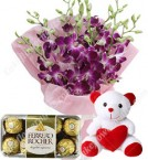 send Gifts of Orchids Bouquets n ferrero rocher chocolate n Teddy Bear delivery