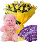 send Gift of 10 Yellow Roses Bouquet Chocolate Teddy Bear delivery