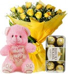 send Gift of 10 Yellow Roses Bouquets Ferrero Rocher Chocolate Teddy Bear delivery