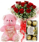 send Gift of 10 Red Roses Bouquets Ferrero Rocher Chocolate Teddy Bear delivery