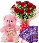 send Gift of 10 Red  Roses Bouquets Chocolate Teddy Bear delivery