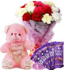 send Gift of 10 Carnation Bouquets Chocolate Teddy Bear delivery