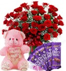 send Gift of 20 Red Roses Bouquets Chocolate Teddy Bear delivery