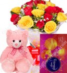 send Gift of 10 Red Roses Bouquets cadbury celebrations Teddy  delivery