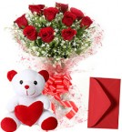 send 10 Red Roses Bouquet n Cute Teddy delivery
