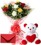 send 10 Mix Roses Bouquet N Cute Teddy delivery