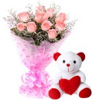 send 10 Pink Roses Bouquet N Cute Teddy delivery