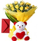 send 10 Yellow Roses Bouquet N Cute Teddy delivery