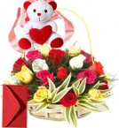 send 15 Red Roses Basket n Teddy delivery