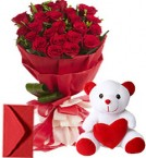 send 20 Red Roses Bouquet n Teddy delivery