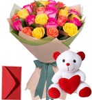 send 20 Mix Roses Bouquet n Teddy delivery