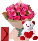 send 20 Pink Roses Bouquet N Teddy delivery