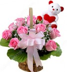 send 15 Pink Roses Basket n Teddy delivery