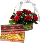 send Gift of 1Kg Assorted Sweet Box n Roses Basket delivery
