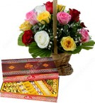 send Gift of 500gms Assorted Sweet Box n Roses Basket delivery