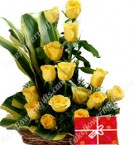 send Yellow roses bouquet n Greeting Card  delivery
