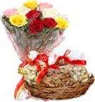 send  500 Gms Dry Fruits Gift box n Mix Roses Bouquet delivery