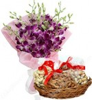 send gift box of 1Kg Mixed dry fruits n Orchids Bouquet delivery