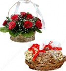 send 500 gms Mixed dry fruits n  Roses Flower Gift Hampers delivery