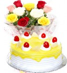 send Half Kg Pineapple Cake with Roses Flower Bouquet delivery