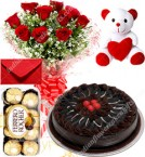 send Eggless Chocolate Traffle Cake Roses Bouquet Teddy N Ferrero Rocher Box delivery