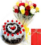 send Eggless Black Forest Cake with Mix Roses Bunch Card delivery