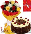 send 1Kg Black Forest Cake Roses bouquet n Greeting Card delivery