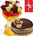 send 1Kg Chocolate Truffle Cake Roses bouquet n Greeting Card delivery