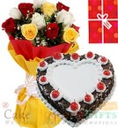 send 1Kg Black Forest Heart Shape Cake Roses bouquet n Greeting Card delivery
