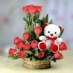 send Red Roses Bouquet N Cute Teddy delivery