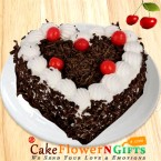 send OrderHalf kg heart shape black forest cake Delivery