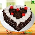 send Eggless 1kg heart shape black forest cake delivery