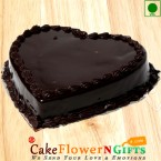 send 1Kg Heart Shaped Chocolate Truffle Eggless Cake delivery
