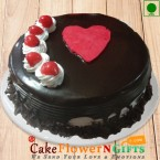 send Half kg Heart Touching Black Forest Eggless Cake delivery