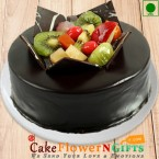 send Half kg chocolate Truffle fruit eggless cake delivery